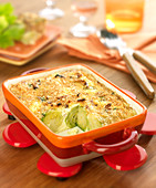 Brussels sprout and diced bacon crumble gratin