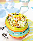 White cabbage, thinly sliced chicken, raisin and thinly sliced mimolette salad