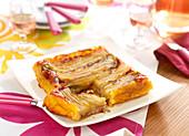 Chicory, raw ham and Beaufort Tatin tart