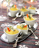 Small ramekins of Purée Aveyronnaise with Roquefort