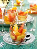 Citrus fruit salad with Cointreau sabayon