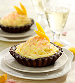 Passionfruit and chocolate individual pies