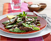 Beef, sweet pea and Sechuan pepper stir-fry