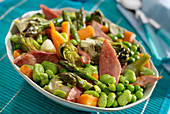 Simmered vegetables with boiled ham