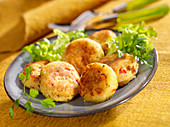 Mashed potato, feta and diced red pepper croquettes