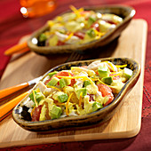 Avocado,chicken and citrus fruit salad
