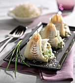 Rolled whiting fillets with herbs