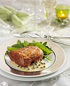Piece Of Magret De Canard With Creamy Vermouth And Green Pepper Sauce,Sweet Peas