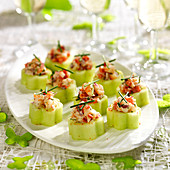 Cucumber flowers and shrimp appetizers