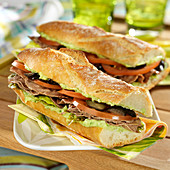 Beef and artichoke pesto sandwiches