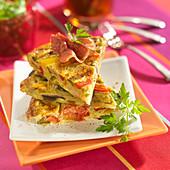 Ratatouille and raw ham tortilla
