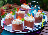 Strawberry mousse with whipped cream
