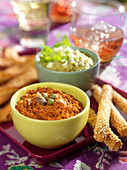 Grilled red pepper spread and creamed white haricot bean spread