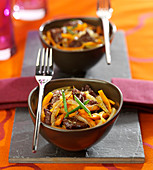 Beef and carrot sauté with cumin