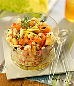 Shell pasta and smoked salmon salad