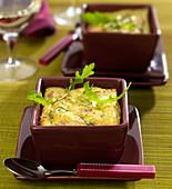 Ricotta, rocket lettuce and raw ham individual flan
