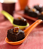 Moist chocolate and raisin cake bites