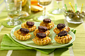 Black pudding and apple flaky pastry appetizers