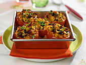 Tomatoes Stuffed With Sun-Dried Tomato,Mozzarella,Green Pepper And Basil Savory Cake