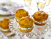 Carrot,Comté And Ham Sandwich Cakes With Fromage Frais And Cumin Seed Filling