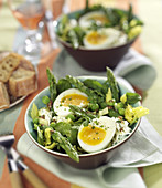 Spring green salad with a soft-boiled egg