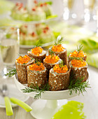 Buckwheat Galette,Fresh Goat's Cheese And Fresh Herb Rolls Topped With Salmon Roe