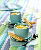 Oeuf cocotte with vegetable puree and parsley