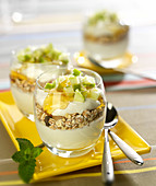 Greek yoghurt, muesli, diced apple, honey and walnut pudding topped with grated coconut