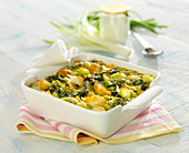 Haddock, leek and spinach with yoghurt gratin