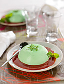 Mint panna cotta with strawberry coulis