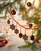 Star-shaped chocolate biscuits hanging on a Christmas tree