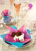 Sugar and chocolate marshmallow cubes