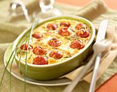 Goat's cheese-tomato Clafoutis