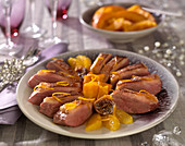Magret de canard à l'orange with dried figs and pumpkin