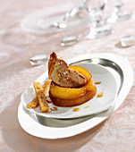 Pan-fried foie gras with caramelized apples and gingerbread