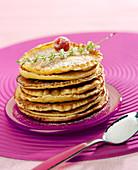 Pile of sultana pancakes