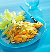 Pan-fried celery sticks,carrots and green olives
