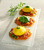 Mini custard marrows with crushed tomatoes