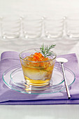 Hard-boiled egg in aspic with salmon roe