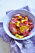Multicolored beetroot crisps