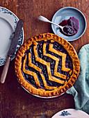 Vanilla confectioner's custard and blueberry zigzag pie