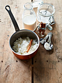 Ingredients for Rice pudding with cinnamon