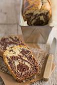 Sliced chocolate-vanilla marble cake