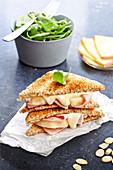 Ham and Raclette de Savoie club sandwich