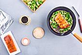 Salmon and pak-choi wok