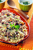Bulgur pilaf with spicies, dried fruit and ground meat