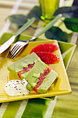 Avocado mousse and pomelos terrine