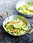 Cucumber, dried shrimp and grilled pine nut salad
