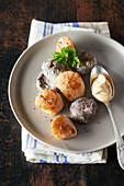 Pan fried scallops with lambig and shiitakes