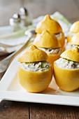Lemons stuffed with mackerel rillettes in Muscadet